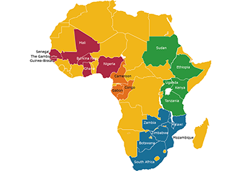 Map of Africa showing the member countries of each of the EDCTP regional networks of excellence