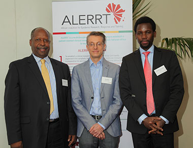 Left to Right: Dr Leonardo Simão (EDCTP High Representative South), Prof. Peter Horby (ALERRT coordinator, EDCTP project officer Jean Marie Vianney Habarugira